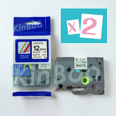 2 Pack Tape Label Compatible for Brother P-Touch TZ TZe S231 Black on White 12mm