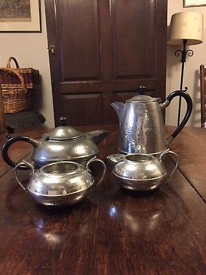 Vintage Arts and Crafts style  4 piece pewter tea coffee set Hall Brothers