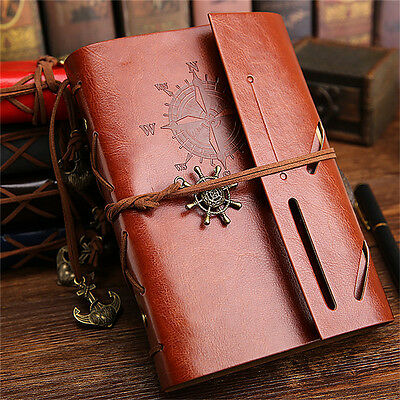A6 Retro Loose Blank Paper Notepad Faux Leather Journal Sketchbook Notebook