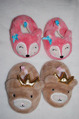 Baby Girls 2 PAIR LOT SLIPPERS Cute Animals BROWN BEAR w/ CROWN Pink Fox SIZE 4