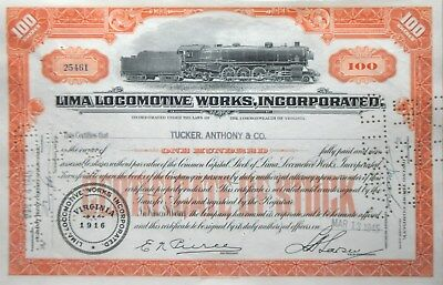 Stock certificate from the Lima (Ohio) Locomotive Works