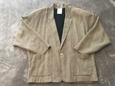 Vintage 80s TOUCH USA Gray Tweed One Button Blazer Sport Coat Shoulder Pads