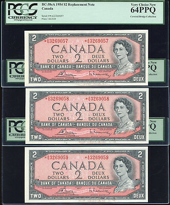 Lot of 5 Consecutive 1954 Bank of Canada $2 *A/G Replacement - PCGS Choice 64PPQ