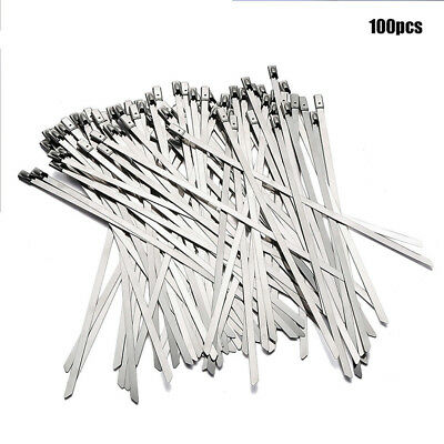 100pc Strong Stainless Steel Marine Grade Metal Cable Ties Zip Tie Wraps Exhaust