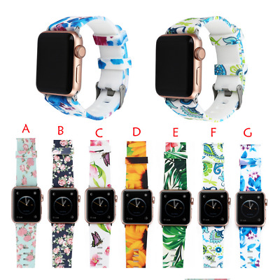 Silicone Watch Band Flower Floral Sport Strap For Apple iWatch Series123 38/42mm