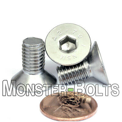 M8 - 1.25 x 16mm Stainless Steel Flat Head Socket Cap Screws, DIN 7991 Allen Hex