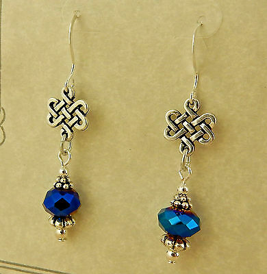 Antique silver Celtic Knot beaded earrings with iridescent blue opaque crystals