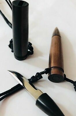 Kamagong Bullet Shaped Dagger Metal Camper Wooden letter openerPendant Necklace