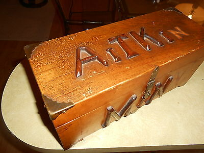 Antique Aitkin Minnesota Handmade Folk Art Wood Box Hinged Lid Vintage Cabin