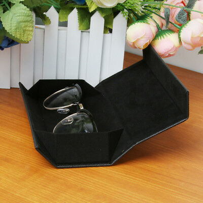 2 Pcs PU Leather Glasses Case Portable Folding Eyeglass Sunglasses Protector