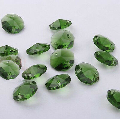 20pcs 14mm Dark Green Crystal Octagonal bead Decoration Crystal chandelier parts