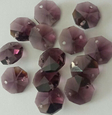 20pcs 14mm Dark purple Crystal Octagonal bead Decoration Crystal chandelier part