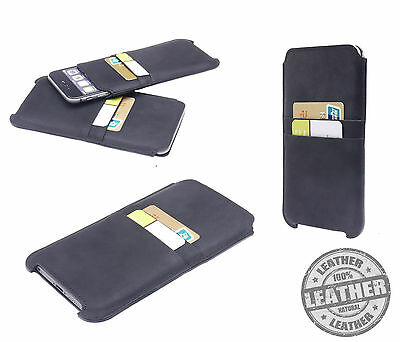 """Genuine Real Leather Luxury Vintage BLack Pouch Case For Apple Iphone 7 4.7"""""""