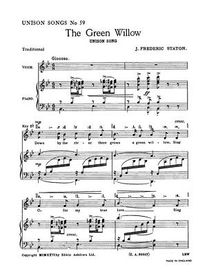 J Frederic Staton The Green Willow Play Unison Voice Piano SHEET MUSIC BOOK