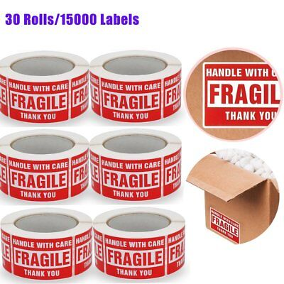 15000 Handle With Care Fragile Stickers 3x5 Thank You Red Warning Label 30 Rolls
