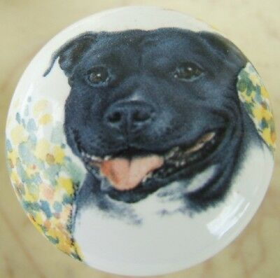 Cabinet Knobs W/ American Staffordshire Terrier Monica DOG