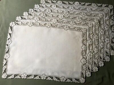 """Exceptional Madeira Embroidery Six Snow White Linen Placemats 19 1/2"""" x 13 3/4"""""""