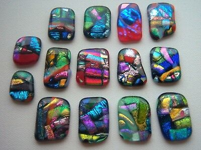 6 x Emerald//Amber Handmade Sparkly Dichroic Fused Glass Cabochons 10mm #2b