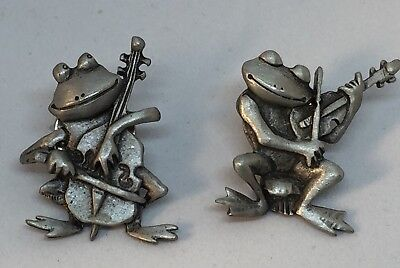 Vintage JJ Frogs Playing Instruments Pewter Tac Pins Lot Of 2 Jonette Jewelry