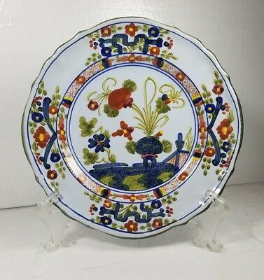 Handpainted Italian Plate Blue Red Green Still Life Scene 8""