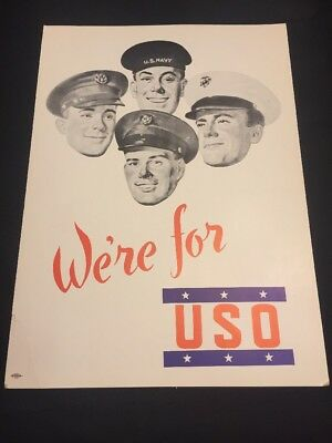 ORIGINAL WWII POSTER: We're for USO US Navy Army Marines Air Corp Sign Poster