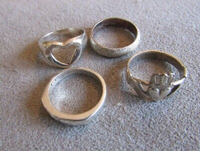Lot Of Four Vintage To Now Sterling Silver Band Rings Sz. 5.25 - 5.75