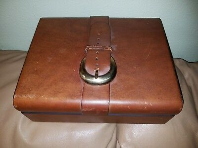 Vintage thick leather Humidor with brass buckle