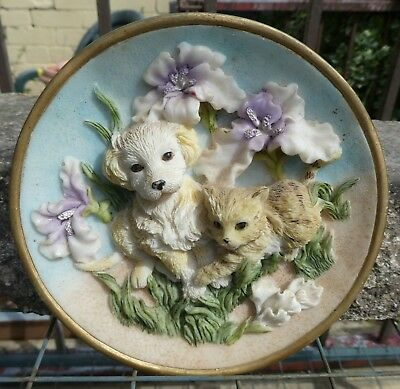 Shudehill Wall Hanging 3D Plaque With Puppy Dog And Kitten Cat In A Floral Scene