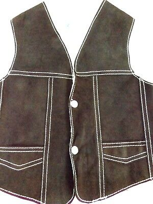 Children's Suede Leather Sherpa Lined Cowboy/Cowgirl Western Vest Chest Size 8