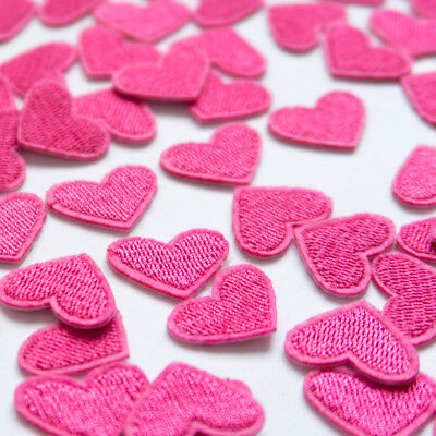 10pcs Pink Love Heart Embroidered Sew On Iron On Patch Badge Applique DIY Craft