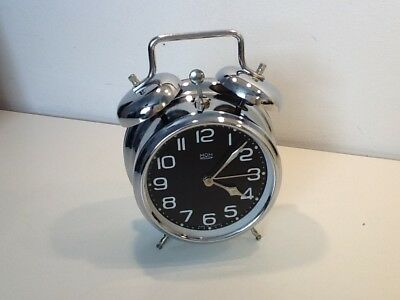 Vintage MOM Chrome Twin Bell Alarm Clock,c/w second hand ,luminescent dial/hands