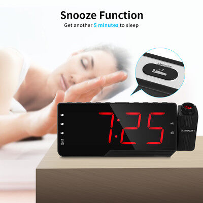 ZEEPIN Projector Clock Dimmable LED Screen Radio Alarm Snooze Timer Temperature