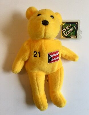 Roberto Clemente Beani Bear Number 21 With Tag, Puerto Rico Flag