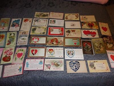 "42 beautiful, antique Valentine""s Day Postcards, early 1900s, many embossed"