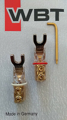 WBT SPADE TERMINALS - WBT-0660 Cu - Red/White Pair NextGen 6mm Connectors+T6 Key