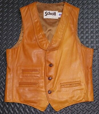 Vintage SCHOTT Men's Leather Vest sz MED Rare Natural Cowhide Color 1970's Mod