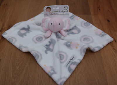 Blankets & Beyond Baby Girl Security Blanket~Elephants & Owls~White, Pink & Gray