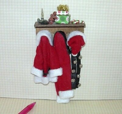 Miniature Hanging Santa Suit and Hat w/Accessories #1: DOLLHOUSE Christmas 1/12