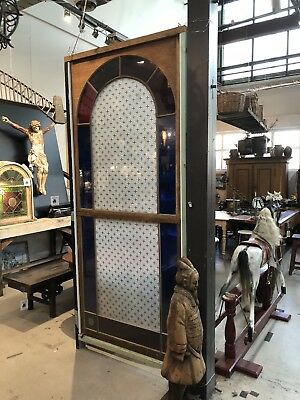 Huge Antique Federation Stained Glass Leadlight Entrance Window