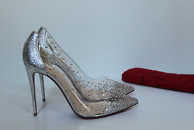 3f2db405186 sz 10   40.5 Christian Louboutin Degrastrass Silver Clear Embellished Pump  Shoes