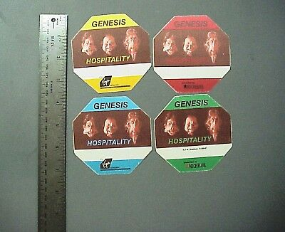 Genesis backstage passes 4 cloth stickers Invisible Touch Tour 4 octagons !