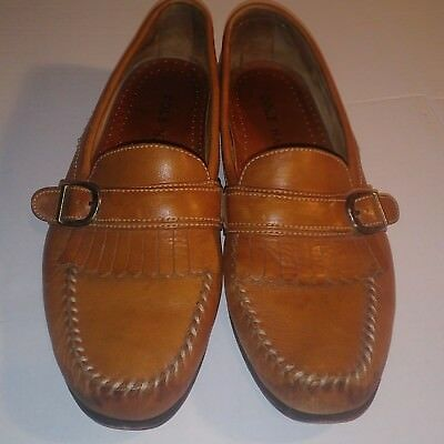 Cole Haan Kiltie Buckle Light Brown Leather Loafers Mens Size 10.5