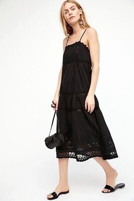 744ec0e568b0 NWT Free People This Is It Slip Embroidered Maxi Long Dress Black S M L