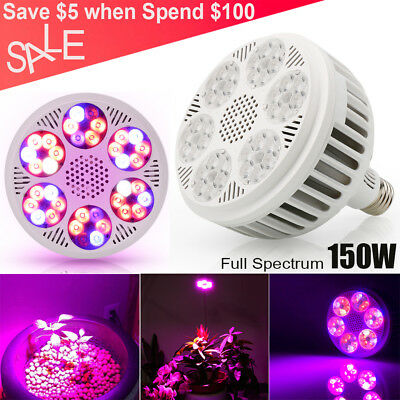 120W LED Grow Light E27 Innen Pflanzen Lampe Vollspektrum IR&UV Für Hydrokultur