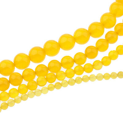 Natural Yellow Agate Loose Beads Charms Round Smooth Jewelry Making 4mm-10mm
