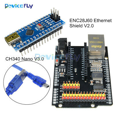 ENC28J60 Ethernet Shield V2.0 Network Module + Arduino CH340G NANO V3.0 Board