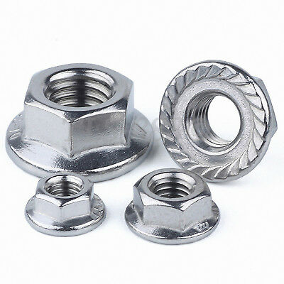 A2 304 Stainless Steel Serrated Flange Nuts Flanged Nut 1/4-20, 3/8-16, 5/16-18