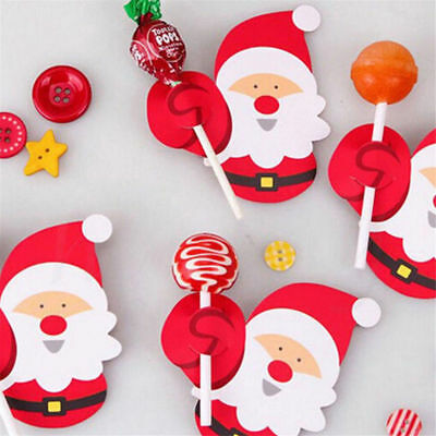 Wholesale 50PCS Christmas Lollipop Stick Paper Candy Chocolate Xmas Decor DIY