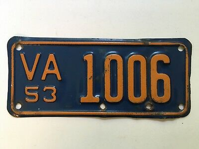 1953 Virginia Motorcycle License Plate ALL ORIGINAL Harley Indian Triumph YOM