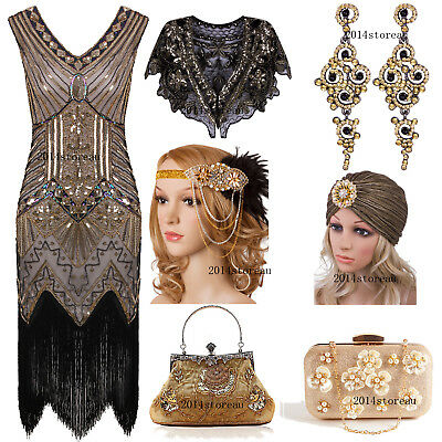 Flapper 1920s Dress Vintage Great Gatsby Fringed Party 20s Roaring Evening Gowns